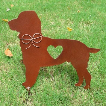Springer Spaniel Dog Metal Garden Stake - Metal Yard Art - Metal Garden Art - Pet Memorial