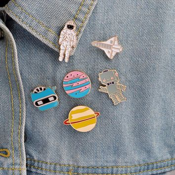 Trendy Cartoon Saturn Planet Astronaut Sailing Rabbit Metal Brooch Pins Chain Button Pin Denim Jacket Pin Badge Gift Jewelry #249233 AT_94_13