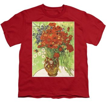 Vincent Van gogh Poppies With Daisies - Youth T-Shirt