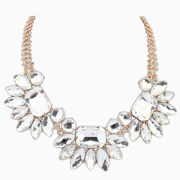 Rhinestone Embellished Statement Necklace