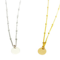 Initial Disc Necklace / Personalized Initial Necklace / Customized Letter Necklace / Layering Necklace