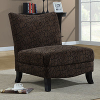 Monarch Specialties 8045 Accent Chair in Brown Swirl Fabric