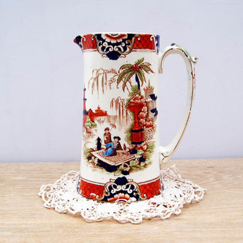 Antique Ford & Sons Ltd Burslem England  Earthenware 'Burma' pattern Large Jug/Pitcher. Circa 1908+