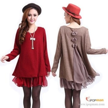 new 2014 spring autumn winter oversized women maternity chiffon dress casual dresses Plus size L XL XXL 3XL 4XL = 1958590340
