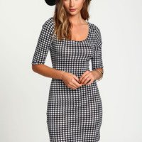 Houndstooth Bodycon Dress