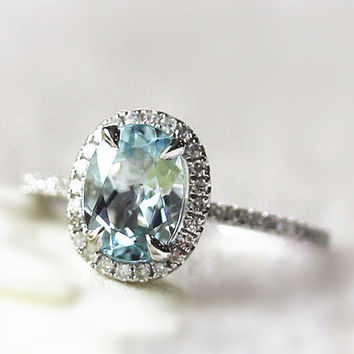 Sky Blue Aquamarine Ring 6x8mm Oval Aquamarine Ring Halo Diamond Engagement Ring Gesmtone Wedding Ring in 14k White Gold