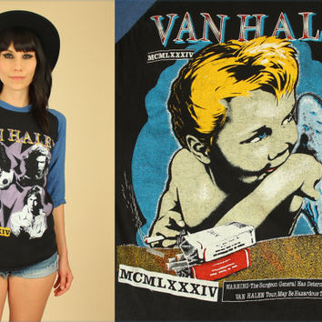 ViNtAgE Van Halen 1984 T-Shirt // Black & Blue Raglan Tee // 80's Concert Rock n Roll Sz. Medium M