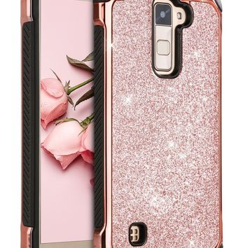 LG Stylo 2 Plus Case, LG Stylus 2 Plus Case, BENTOBEN Glitter Ultra Slim Hard Laminated with Sparkly Faux Leather Shockproof Protective Case for LG Stylo 2 Plus/LG Stylus 2 Plus/K530/MS550, Rose Gold