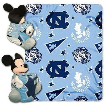 NORTH CAROLINA TARHEELS 40X50 DISNEY MICKEY MOUSE HUGGER PILLOW & THROW BLANKET