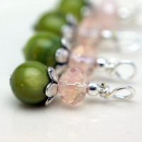 Green Round Bead with Pale Pink Rondelle Crystal and Silver Bead Drop Dangle Charm Set