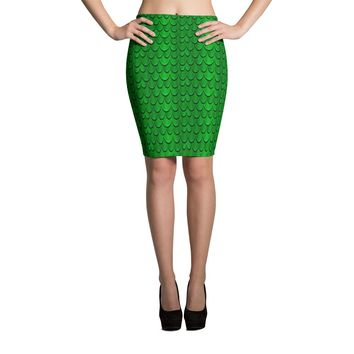 Halloween Dragon Scales Pencil Skirt