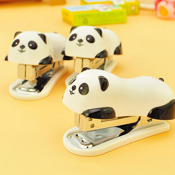 1 pcs mini panda stapler set cartoon office school supplies stationery paper clip Binding Binder book sewer