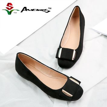 Anvenus Genuine Leather Flats Women Flat Shoes Brand Woman Ballet Soft Heel Ballerina Flats Winter Warm Suede Lady Loafers Black
