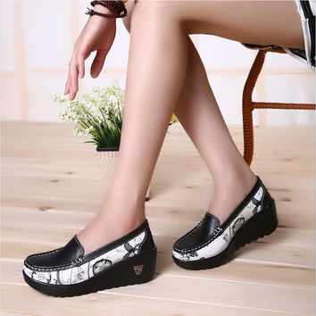 Female Swing shoes casual loafers platform women's fashion pumps shoes patchwork wedges heel shoes Spring Autumn boat shoes
