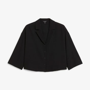Crepe blouse - Black magic - Tops - Monki GB