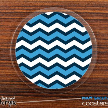 The Wide Blues Chevron Pattern Skinned Foam-Backed Coaster Set