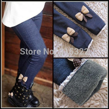 Girls Jeans Bow Pants Kids Cotton Trousers Children Elastic Waist Legging Warm Pants Kids Jeans