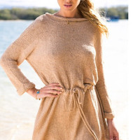 Drawstring Long Sleeve Knit Dress