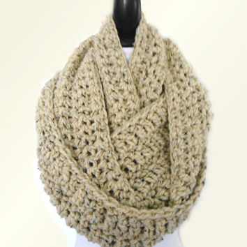 OVERSIZED INFINITY Scarf Knit Crochet Hooded Scarf Long Huge Chunky Loop UniSex Infiniti Knit Scarf Women Mens Scarf Beige Oatmeal Wool