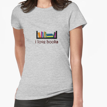 "'""i love books"" typography' T-Shirt by BillOwenArt"