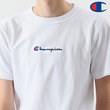 Champion Summer Men Women Casual Classic Logo Embroidery Print T-Shirt Top Blouse