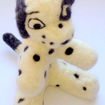 Needle felt children's Dalmatian toy dog just ready to be adopted by you.
