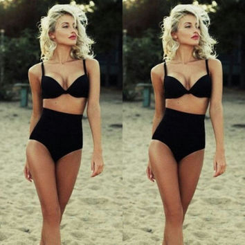 Women High Waist Sexy Bikini Set Swimsuit Ladies Push-up Padded Beachwear