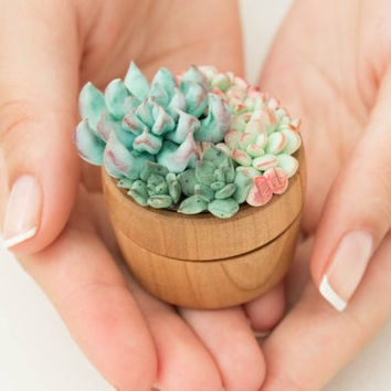 Blue Pink Succulent Ring Box Wooden Round Decorated Engagement Ring Holder Marriage Offer Ring Case Wedding Bridal Birthday Gift Decor
