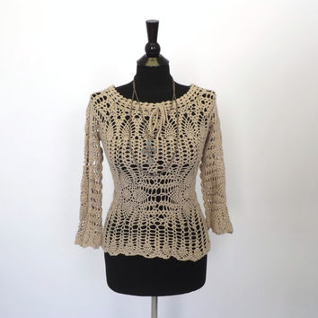 Vintage 1970s Boho Tan Beige Crochet Knit Sweater Long Sleeve Shirt Top Grunge Hippie Beach Cover Up SoCal Peasant Top Blouse Size Small