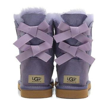 UGG Fashion Women Fur Bow Wool Snow Boots In Tube Boots Shoes Purple