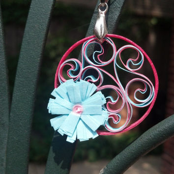 Eco-Friendly Paper Quilled Earrings & Pendant Set Round Filigree with Flower - Pink and Aqua - quilling paper jewelry, jewelry set