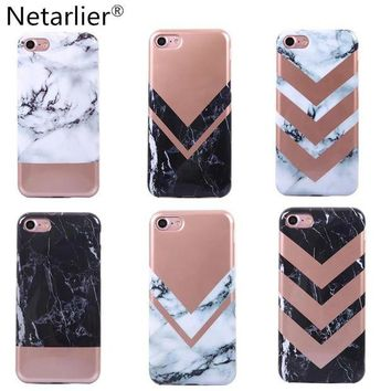 LMFDP2 Netarlier Luxury Rose Gold Marble Design Phone Case For iPhone 6 6sPlus 7 7Plus High Quality Full Round TPU Soft Back Case Cover