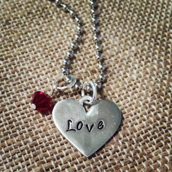 """Hand Stamped """"Love"""" Heart Charm"""