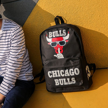 Chicago Bulls Design Large Backpack Travel Bag Daypack