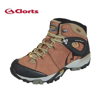 Clorts Genuine Leather Hiking Boots Vibram Authorized Rubber Outsole Anti-skid Mountain Shoes Waterproof Hiking Sneakers