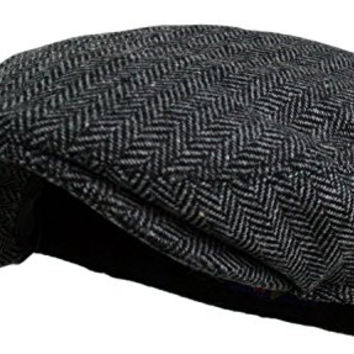 Men's Herringbone Tweed Wool Blend Snap Front Newsboy Hat (DK.Grey, LXL)