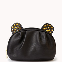 Bolt Studded Faux Leather Cosmetic Bag