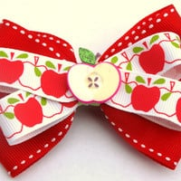 red apple hair bow- back to school clip- fall accessories