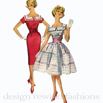 1950s Cocktail Day Career Dress- Slim Pencil Wiggle Full Skirt Square Neckline Puritan Collar Simplicity 3453 Vintage Sewing Pattern Bust 32