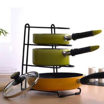 Pan Shelf Pan Cover Stand Kitchen Storage Holder Multifunction Storage Racks Four Layers Dish Rack Shelves Kitchen Pan Racks