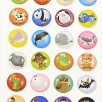 Funny Animated Zoo Animals 24 Pieces Home Button Stickers for iPhone 5 4/4s 3GS 3G, iPad 2, iPad Mini, iPod Touch