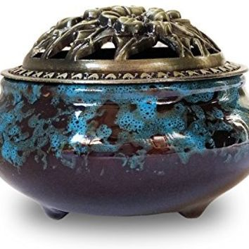 Incense Burner with Brass Calabash Incense Stick Holder - Porcelain Decorated Censer for Use with Cone or Coil Incense - Ceramic Ash Catcher Tray Bowl (Blue Fambe)