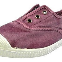 Cienta Girl's 70777 Distressed Violet Canvas Laceless Sneaker
