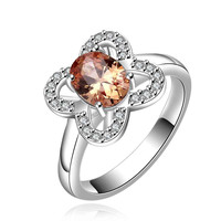 silver plated stamp flower stone crystal rings the lord of rings silver plated ring