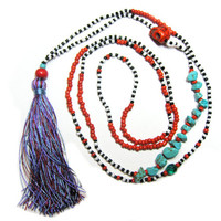 Long Fun Tassel Necklace - Layered Necklace - Color Block Necklace - Hippie Necklace