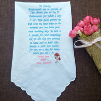 Flower girl personalized embroidery handkerchief wedding gift with silver mermaid decoration  and handmade envelope,bridesmaid gift