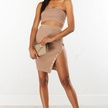Ribbed Bandeau Top in Tan
