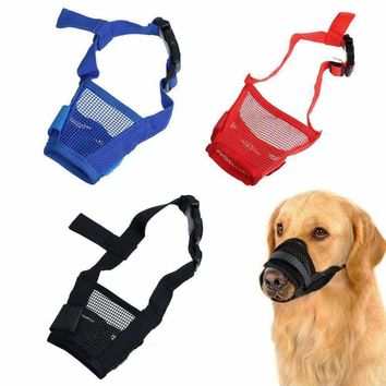 Dog Adjustable Mask Anti Bark Bite Mesh Soft Mouth Muzzle Grooming Chew PS