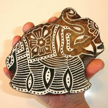 Hand Carved Wood Stamp: Large Indian Elephant Stamp, Ceramic Tile Pottery Stamp, India Wall Decor