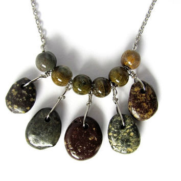 River Rock Necklace Wire Wrapped Beach Stones Jasper Beads Natural Stone Eco Friendly Jewelry bu Hendywood